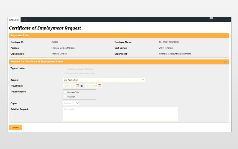 Certificate Of Employment Request K2 App Store Business